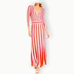 FOXIEDOX NWT Sz L Red Pink Striped V Wrap Dress